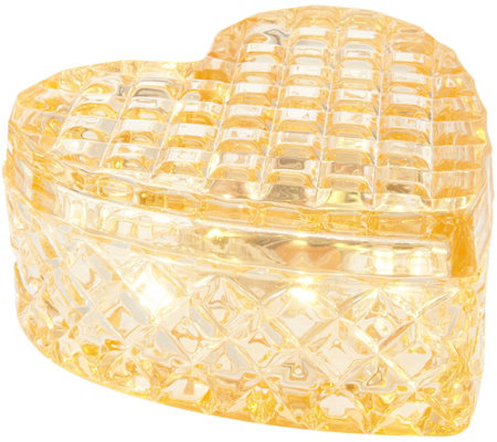 """As Is"" Illuminated Heart Shaped Faceted Glass Keepsake Jar"