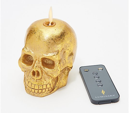 Martha Stewart Metallic Wax Mini Flameless Skull Candle With Remote