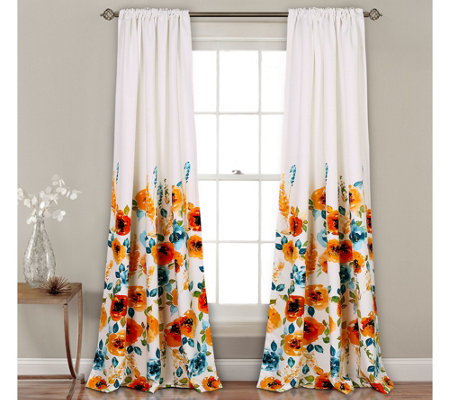 Percy Bloom Room Darkening Window Curtains by Lush Decor