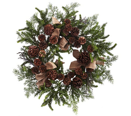 "24"" Pine & Pinecone Wreath with Burlap Bows byNearly Natural"