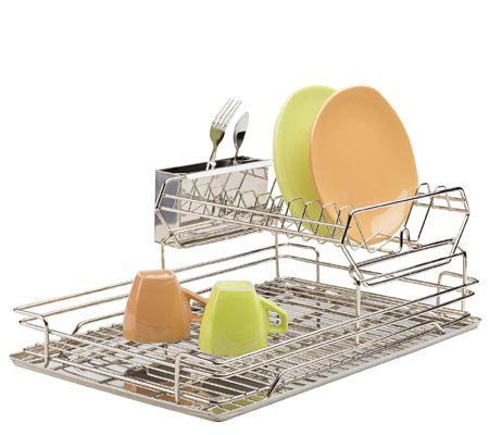 Polder Stainless Steel Two Tier Dish Rack Qvc Com