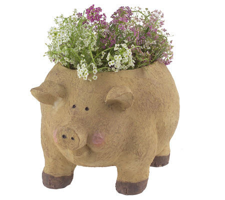 Instant Flower Garden Pig Planter With Seeded Mats Nutragro