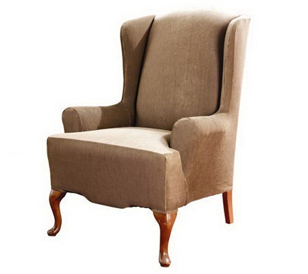 Sure Fit Stretch Stripe T-Cushion Wing Chair Slipcover
