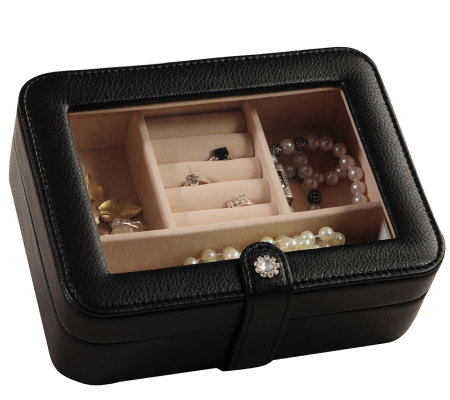 "Mele & Co. ""Rio"" Faux Leather Black Jewelry Box"