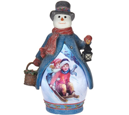 """As Is"" Illuminated Figure with Vintage Holiday Scene"