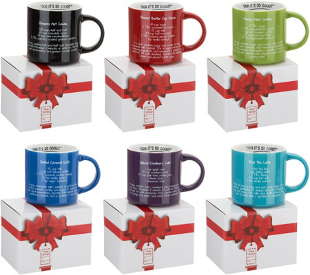 Mr. Food Set of 6 Assorted Recipe Mugs with Gift Boxes
