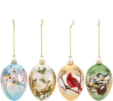 """As Is"" David Dangle Home Collection S/4 Birds in Glass Egg Ornaments"