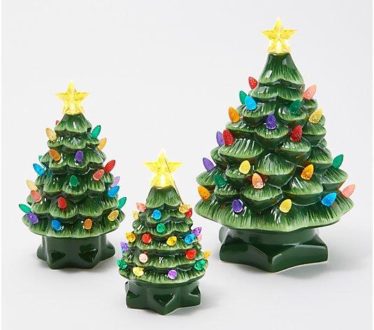 4 PC SET MR CHRISTMAS NOSTALGIC RETRO PINK CERAMIC MINI CHRISTMAS TREE ORNAMENT