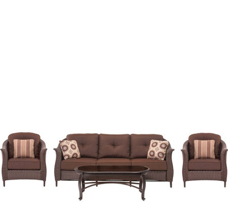 Cambridge Coral Bay 4-Piece Wicker Patio Seating Set in Brown