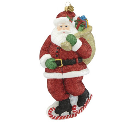 Reed & Barton Skating Santa Ornament
