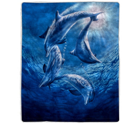 Ocean Dolphin Sherpa Fleece Throw by Lavish Home