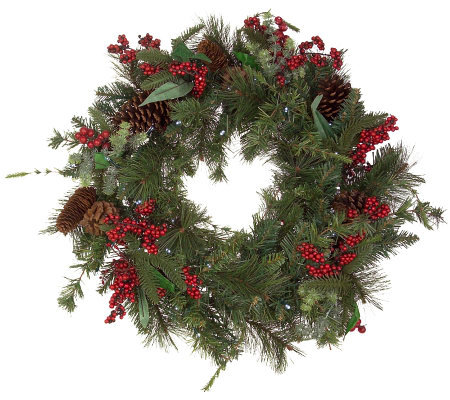 solar powered 24 prelit winterberry wreath - Solar Powered Christmas Wreath