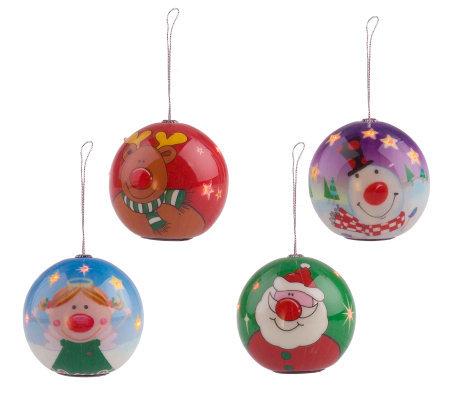 Set of 4 Flashing Light Holiday Ornaments - Set Of 4 Flashing Light Holiday Ornaments - Page 1 €� QVC.com