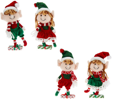 competitive price bdbf7 76e7b Set of 4 Plush Elf Ornaments with Clip by Valerie — QVC.com