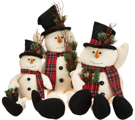 Set of 3 Linen Snowmen w/ Felt Details & Plaid Scarves by Valerie