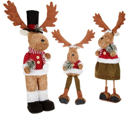 Set of 3 Sisal Moose Family Posable Figures by Valerie