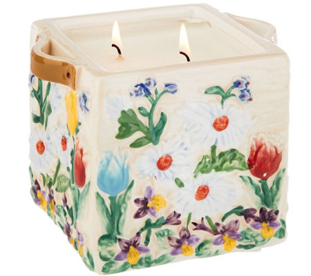 """As Is"" Temp-tations 23 oz. Floral Flower Crate Candle"