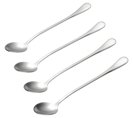 BonJour Stainless Steel 4-Piece Iced Tea & Latte Spoon Set