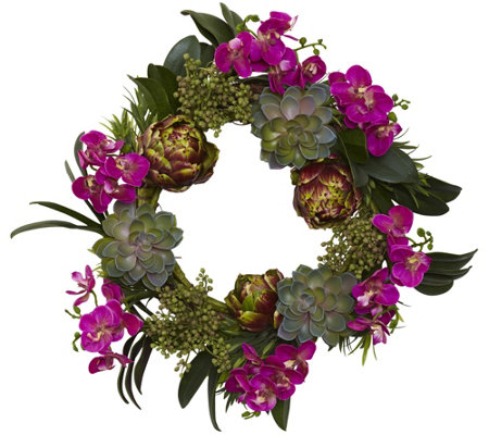 "20"" Orchid, Artichoke, & Succulent Wreath by Nearly Natural"