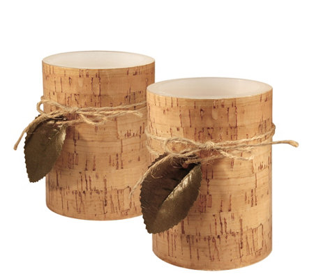 LumaBase Set of 2 Cork Wrapped Flameless Candles
