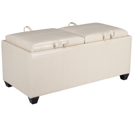 Leather Storage Ottoman in Cream Faux Leather by Office Star