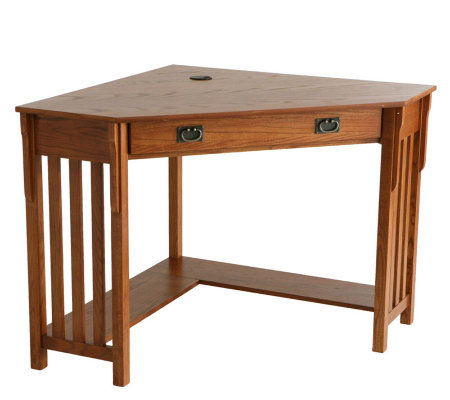 Lawrence Corner Desk with Keyboard Drawer - OakFinish