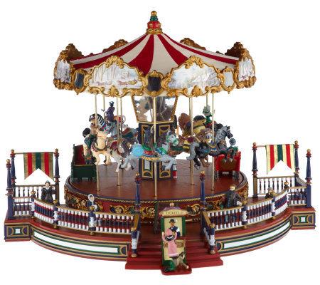 Mr Christmas Carousel.Mr Christmas Animated Musical Holiday Around Carousel Qvc Com