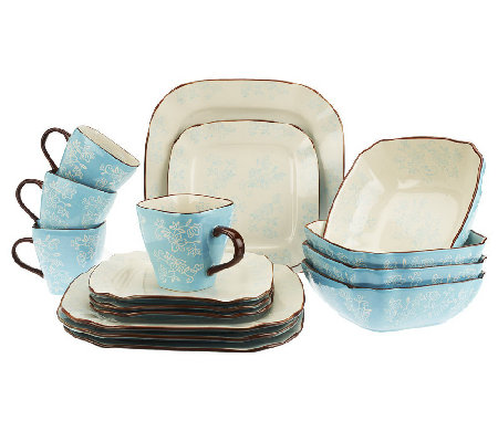 As Is  Temp-tations Floral Lace 16-pc Square Dinnerware Set  sc 1 st  QVC.com & As Is
