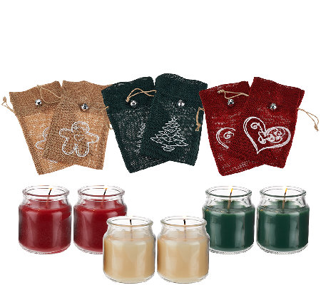 Set of 6 2.5 oz. Candles with Burlap Gift Bags by Valerie
