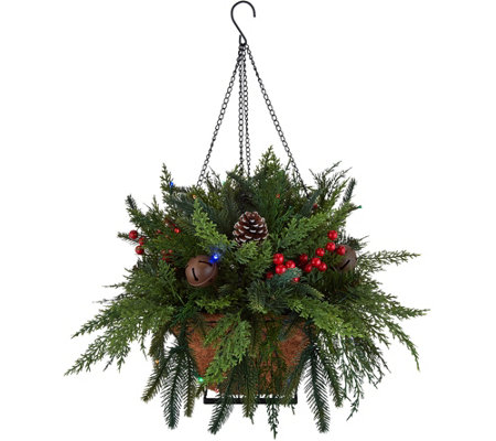 Bethlehem Lights Prelit Indoor/Outdoor Mixed Cedar Hanging Basket