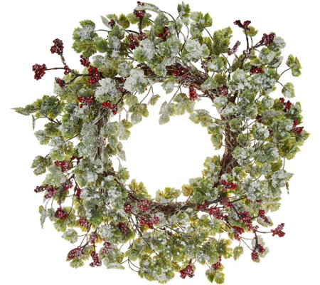 "22"" Frosted Berries and Leaves Wreath by Valerie"