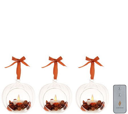 Luminara S/3 Harvest Blown Glass Ornaments with Flameless Tealight Candle