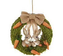 "16"" Bunny & Carrot Moss Wreath by Valerie - H213806"