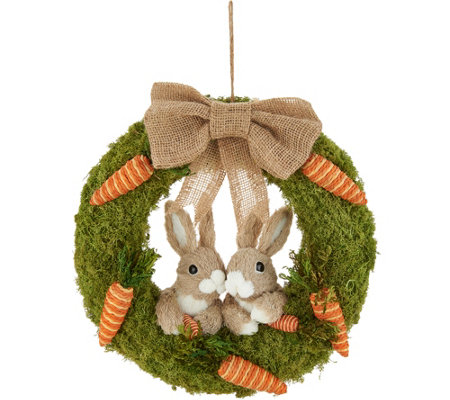 "16"" Bunny & Carrot Moss Wreath by Valerie"