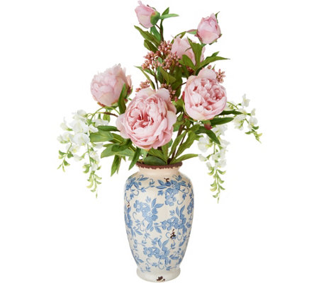 Peony and Wisteria Arrangement in Blue and Cream Vase by Peony