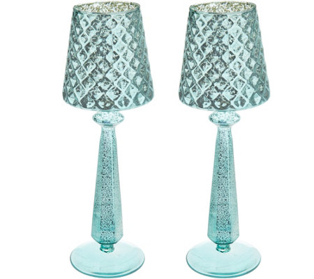 "Set of (2) 13"" Mercury Glass Accent Lamps with Tealights by Valerie"