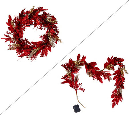 """As Is"" Illuminated Glittered Bay Leaf 24"" Wreath or 5' Garland"