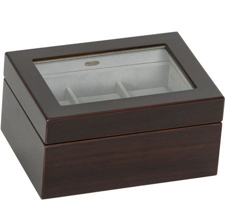 Mele & Co. Granby Glass Top Watch Box in Mahogany Finish