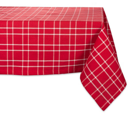 Design Imports Holly Berry Farmhouse Plaid Tablecloth 60 X104