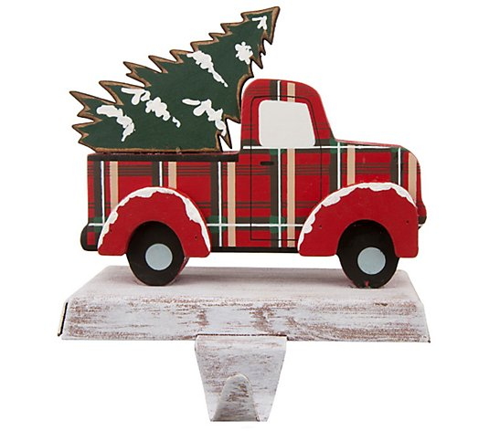 Glitzhome Christmas Wooden Metal Red Truck Stocking Holder