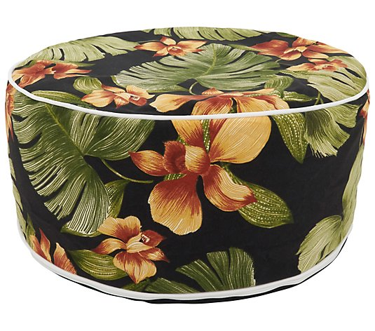 Outdoor Ottoman With Tropical Leaf Design By Valerie