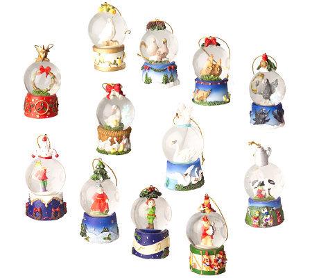 12 days of christmas 12pc waterglobe ornament set - 12 Days Of Christmas Ornament Set