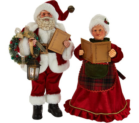 Caroling Mr And Mrs Claus 2 Piece Set By Valerie Page 1 Qvc Com