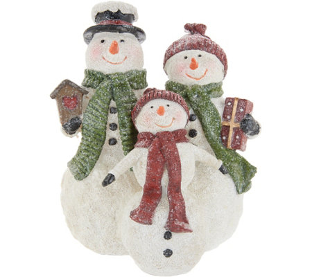 Snowman Family Figurine With Hats Scarves By Valerie