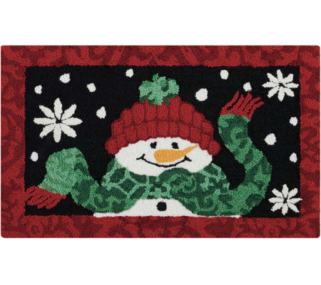 "Waverly 21"" x 33"" Black Christmas Snowman Rug by Nourison"