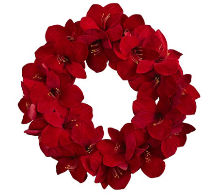 "22"" Amaryllis Wreath by Nearly Natural"