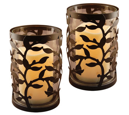 LumaBase 2 Round Vine Metal Lanterns with Flameless Candles