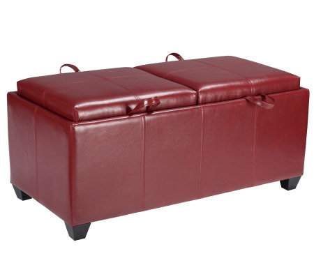 Leather Storage Ottoman in Red Faux Leather byOffice Star