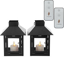 Luminara Set of 2 Mini Lanterns with Tea Lights & (2) Remotes - H214808