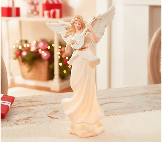 "Illuminated 13.5"" Porcelain Angel Holding Instrument by Valerie"